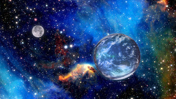 Planet Earth And Moon In Deep Space stock footage