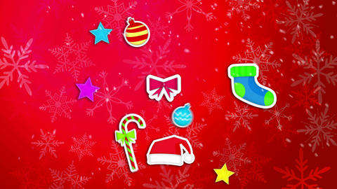Christmas Ornament Pack Set Red Background Loop An Animation