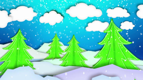 Winter Trees Landscape Paper Scene Loop Animation  stock footage