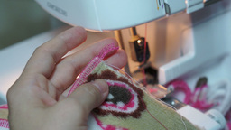 Sewing Tightening Serger Threads Footage