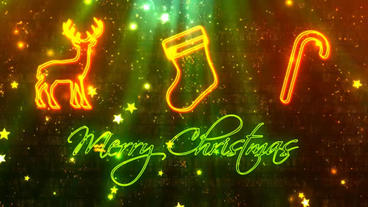 Christmas Greetings Neon Lights After Effects Project