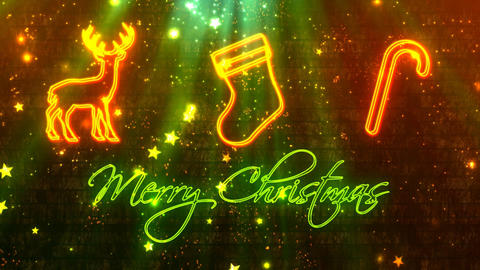 Christmas Greetings Neon Lights After Effects Template