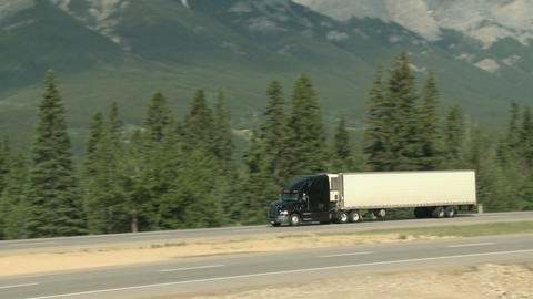 Transport truck in the Rocky Mountains Footage