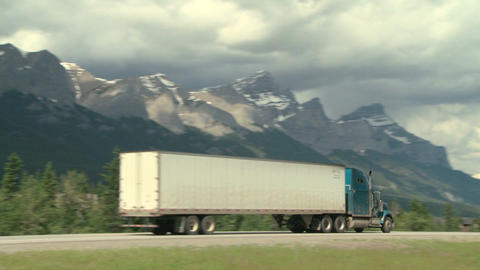 Transport Truck In The Rocky Mountains stock footage