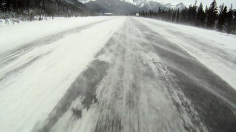Driving on a windy winter highway 1 Footage