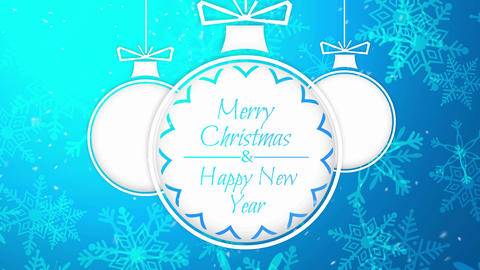 Simple Bauble Merry Christmas Happy New Year Blue  Animation