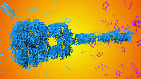 Blue Guitar Musical Note Particles Loop Animation  Animation