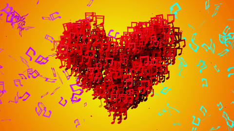 Red Love Musical Note Particles Loop Animation Ora Animation