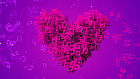 Purple Love Musical Note Particles Loop Animation  Animation