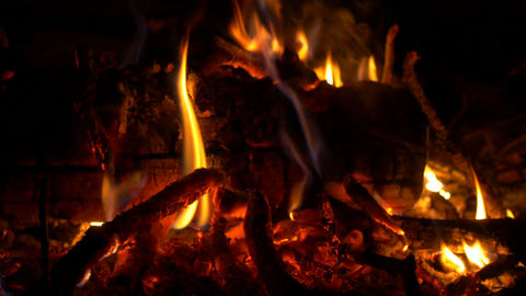 4K UHD Stock Footage Bonfire Close Up at Night Footage