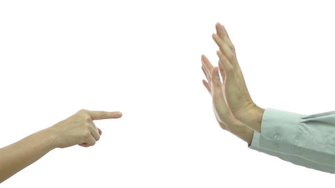 Couple Finger Pointing Denying stock footage