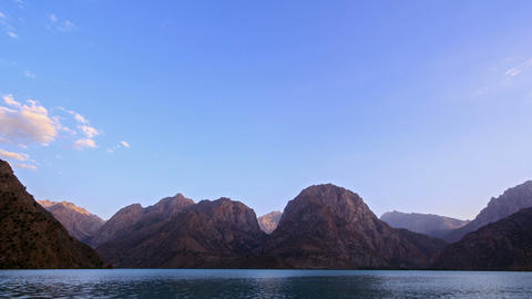 Sunset over the lake. Panorama. TimeLapse. Pamir,  Footage