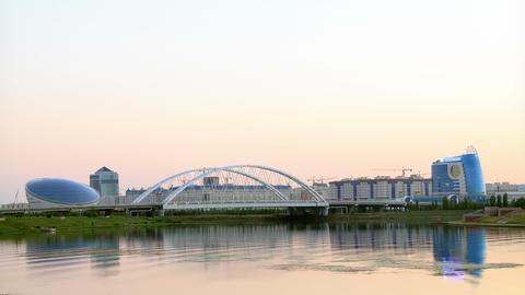 Sunset Over The River. Astana, Kazakhstan. 4K stock footage