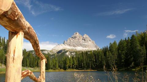 Fence Mountain Lake And Tre Cime De Lavaredo 11533 stock footage