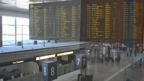 Airport Departures Board stock footage