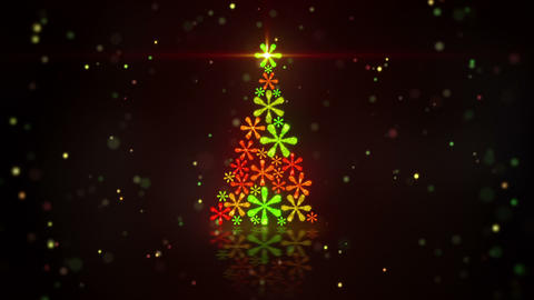 christmas tree shape of glowing snowflakes loop Animation