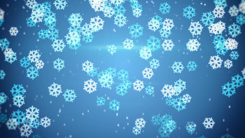 blue glowing snowflakes falling loop background Animation
