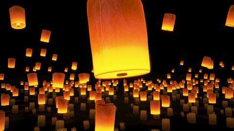 4k beautiful, Lanterns flying in night sky Animation