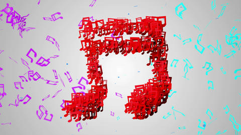 Red Musical Note Particles Loop Animation - 4K Res Animation
