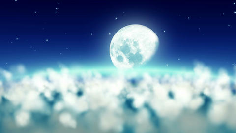 Flight over clouds night to the half moon seamless Animation