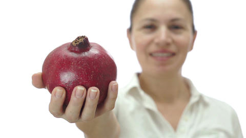 Female Giving Red Pomegranate Fruit stock footage