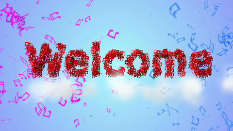 Welcome Red Musical Note Particles Loop Animation  Animation