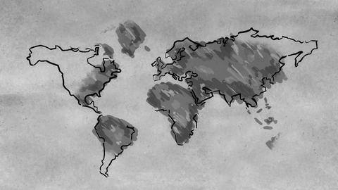 World Map Sketching Looping Animation Black And Wh stock footage