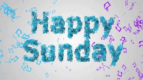 Happy Sunday Musical Note blue background Loop Ani Animation