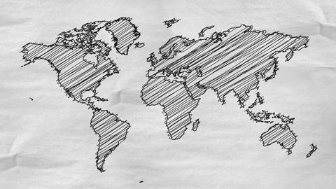 World Map Drawing alpha channel - 4K Resolution UH Animation