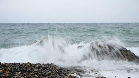 Sea Beach In Storm stock footage