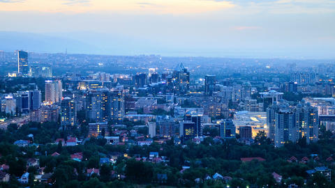 Night over the city. Panorama. Almaty, Kazakhstan Footage