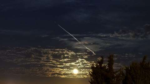 Moon Rise Time Lapse with clouds Footage