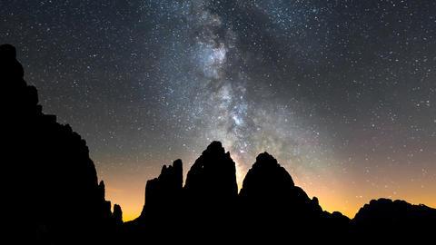 4k UHD Tre Cime De Lavaredo Milky Way Close 11539 stock footage