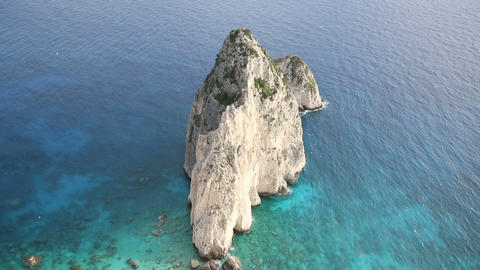 Steep rocky peak at the shore of Zakynthos, Greece Footage
