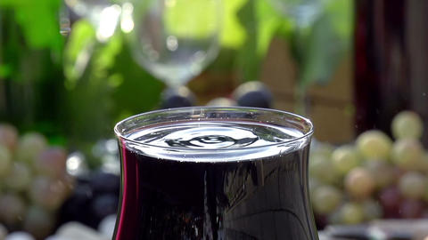Drops of Red Wine Close up Footage