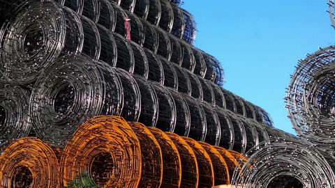 Stacked Wire Rolls Panning stock footage
