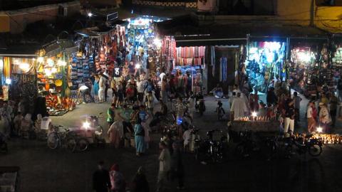 Jemaa el-Fnaa at night, Marrakech, Morocco Footage