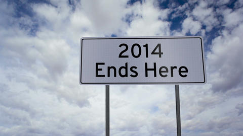 Sign 2014 Ends Here Clouds Timelapse stock footage