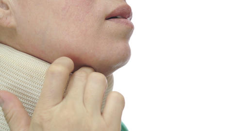 Woman With Neck Brace Scratching Close Up Footage