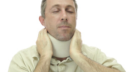 Male In Neck Support Brace With Pain stock footage
