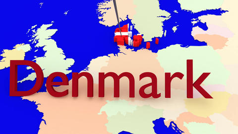 Worldmap Zooms to Denmark Animation