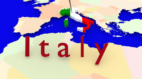 Worldmap Zooms to Italy Animation