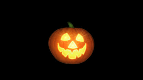 Halloween pumpkin animation, black background, loo Animation