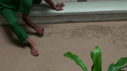 Bali Sand Painting Hotel Floor Closeup stock footage