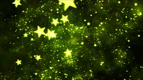 Space Travel through Star Shapes - Loop Yellow Animation