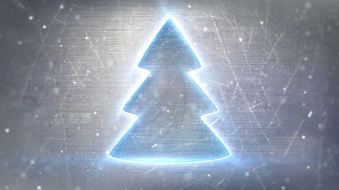 Christmas Tree Neon Glowing On Metal Loop Backgrou stock footage