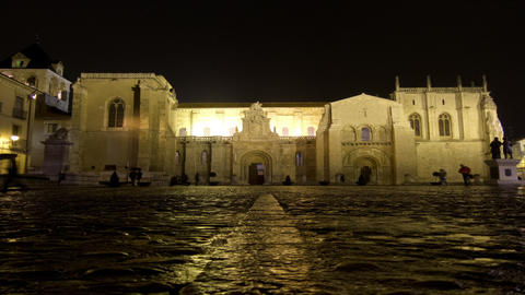 Architectural landmark time lapse at night in Spain. ProRes. Loop Footage
