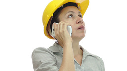 Woman Hardhat Phone Uninterested and Bored Footage