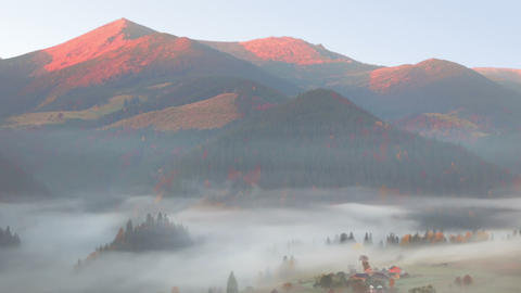 Morning Mist And Pink Mountains stock footage