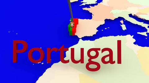Worldmap Zooms to Portugal Animation